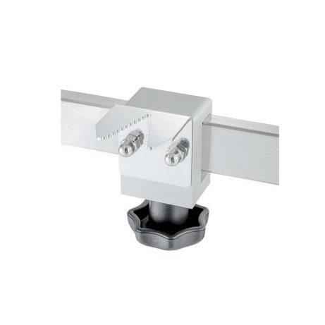 Schlauchhalter mit konischer Öffnung 3,5-17,0 mm und Normschienenklaue, an Normschiene