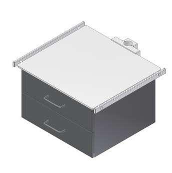 Konsole, Ablageplatte, Monitorträger mit 2 Schubfächer