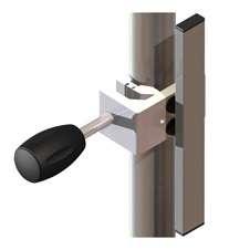 Universalklaue für Normschiene und Rundrohr mit vertikaler Normschiene