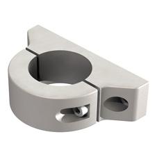 Blockschelle, Halteklaue, Klaue, Rundrohrklaue, Schelle für universelle Befestigung von Normschienen und Komponenten, Anbindung an Rundrohr / Profilrohr Ø 38 mm.